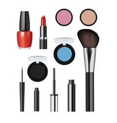 Realistic makeup cosmetics set vector image