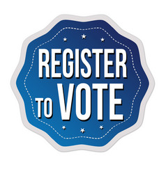 register to vote label or sticker vector image