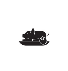 roasted pig black concept icon roasted pig vector image