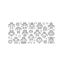 robots minimal in outline vector image