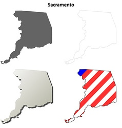 Sacramento County California outline map set vector