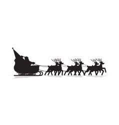 santa in sleigh with reindeers silhouette merry vector image