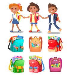 Schoolchildren hold hands backpacks with supplies vector