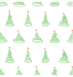 Seamless pattern from sketch christmas trees vector