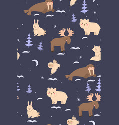 seamless pattern with cute arctic animals vector image