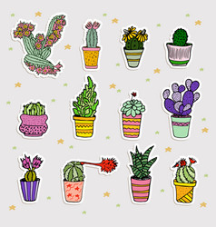 set of cute cartoon cactus and succulents vector image