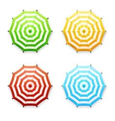 Set of striped beach or market umbrellas in vector