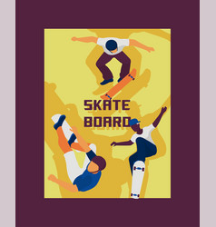 skateboard boys banner poster vector image