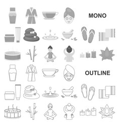 Spa salon and equipment monochrom icons in set vector
