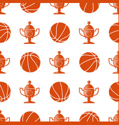 sport seamless pattern with basketball ball vector image