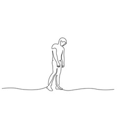 Standing sad man in despair one line drawing vector
