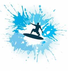 Surfing grunge vector