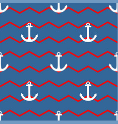 Tile sailor pattern with white anchor on zig zag vector