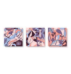 trendy set abstract cards cubism vector image