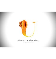 U orange letter design brush paint stroke gold vector