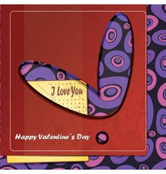 Valentine day card with heart and card vector
