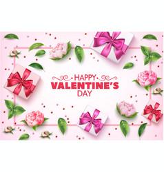 valentine day rose flower present box vector image