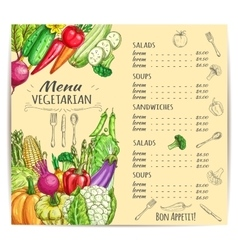 Vegetarian menu template design with vegetables vector