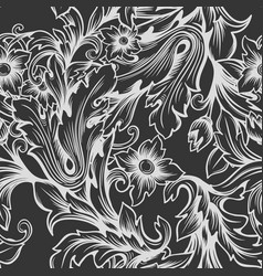 vintage baroque monochrome seamless pattern vector image