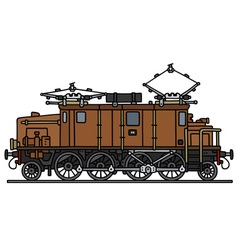 Vintage brown electric locomotive vector
