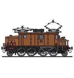 Vintage brown electric locomotive vector