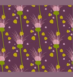 violet seamless pattern floral design primitive vector image