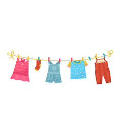 Washed baclothes icon home kids laundry vector