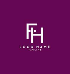 white purple fh initial letter logo vector image