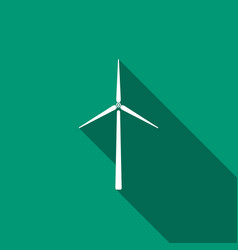 wind turbine icon isolated with long shadow vector image