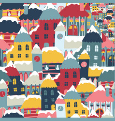 winter city cityscape cartoon seamless vector image