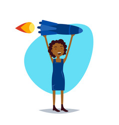 Woman character holding rocket successful sturtup vector
