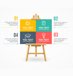 wooden easel menu infographic option banner card vector image