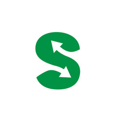 arrow symbol for letter s vector image vector image