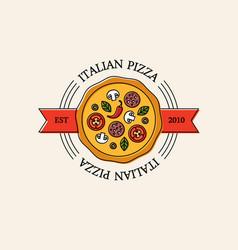 bright italian pizza logo vector image vector image