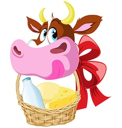 cow holding basket vector image vector image