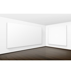 Empty Blank White Posters Pictures Frames on Walls vector image