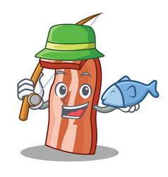 Fishing bacon mascot cartoon style vector