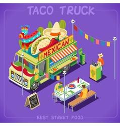 Food Truck 07 Vehicle Isometric vector image vector image