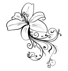 grunge elegance ink tattoo sketch flower vector image