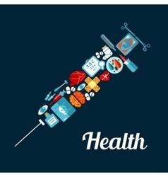 Syringe symbol made up of medical flat icons vector image