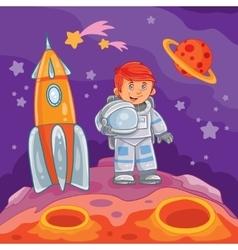 A little boy astronaut vector