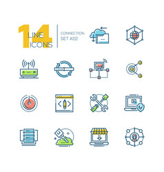 connection - colored modern single line icons set vector image vector image