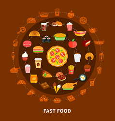 fast food menu circle composition poster vector image vector image