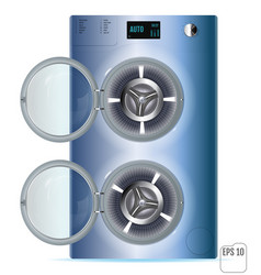 Open blue steel front load double washing machine vector