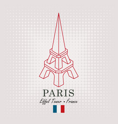 schematic drawing of the eiffel tower with flag vector image