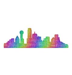 Dallas skyline silhouette - multicolor line art vector image vector image
