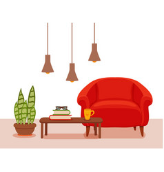 interior with an armchair potted plant floor lamp vector image vector image