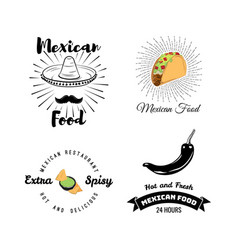 mexican food set vintage vector image