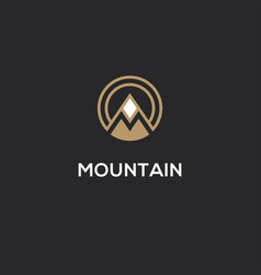 mountain logo with letter m in a shape of circle vector image