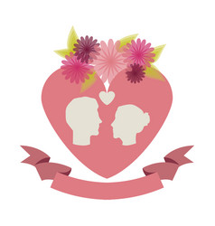 roses and flowers couple heart icon stock vector image